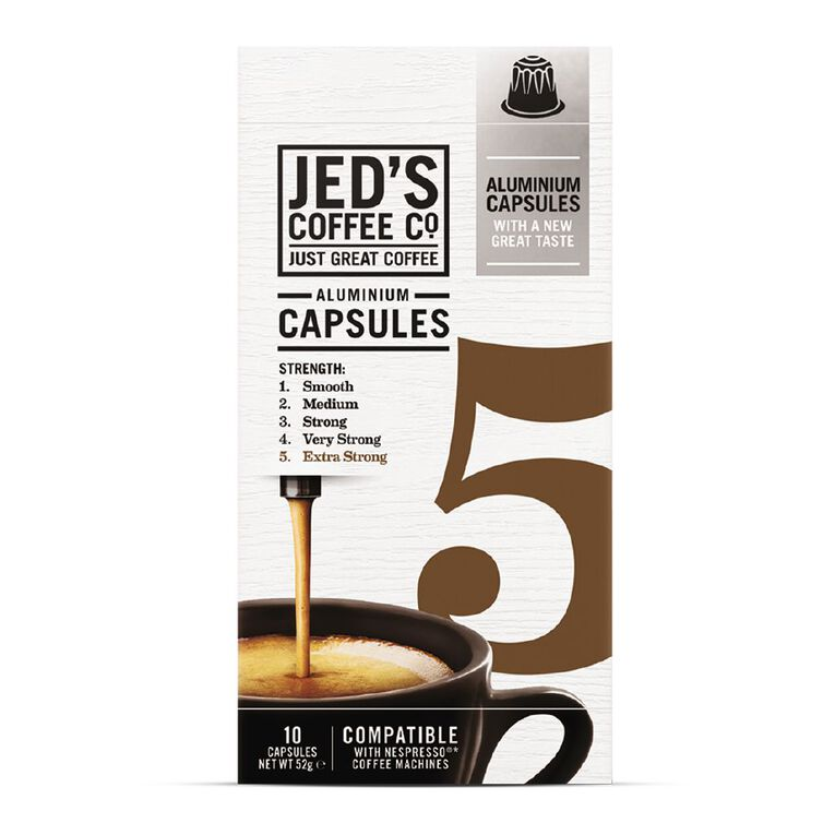 Jed's Aluminium Coffee Capsules #5 Extra Strong 10 Pack, , hi-res