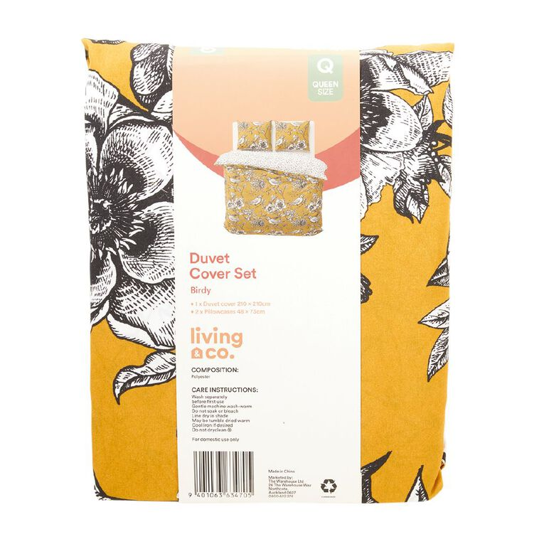 Living & Co Duvet Cover Set Microfibre Birdy Yellow Double, Yellow, hi-res