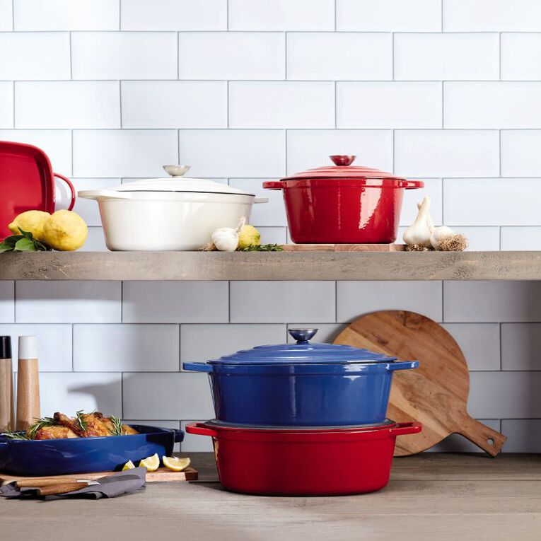 Living & Co Cast Iron Casserole Oval 5.2L Red, , hi-res