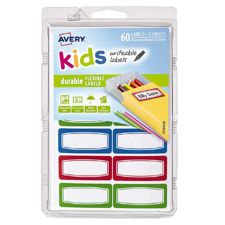 Avery Kids Durable Label Green Red and Blue Border 44mm x 19mm 5 Sheets, , hi-res