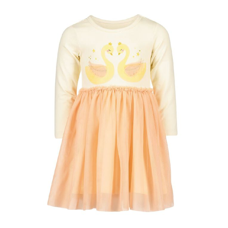 Young Original Toddler Long Sleeve Tulle Dress, Orange Mid, hi-res