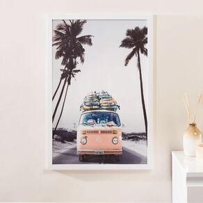 Living & Co Road Trip Campervan Framed Print White 60 x 40 x 2.3cm