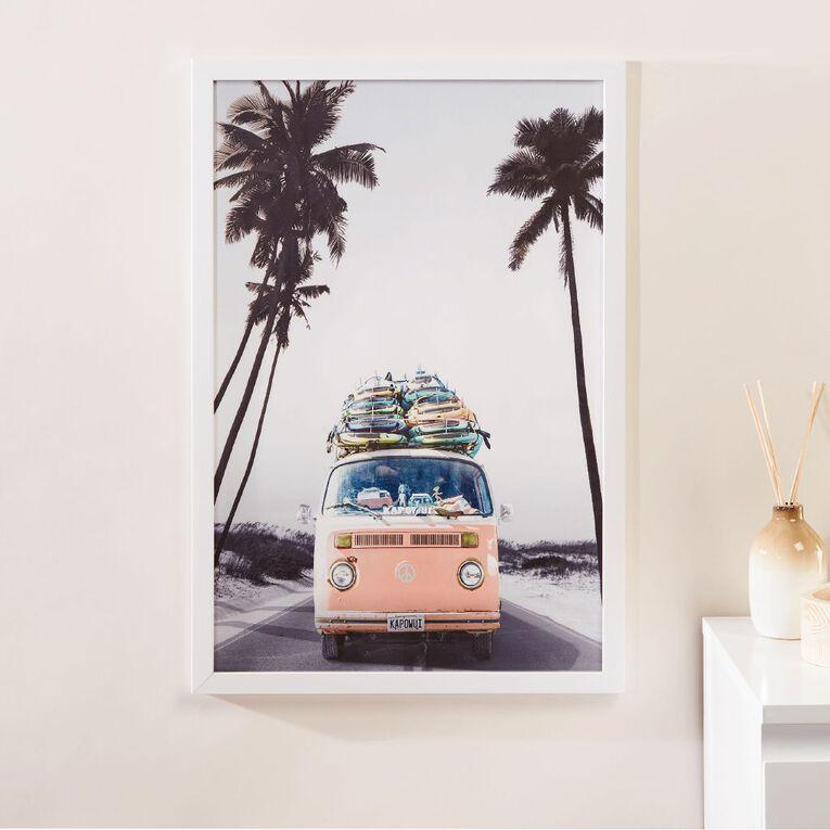 Living & Co Road Trip Campervan Framed Print White 60 x 40 x 2.3cm, White, hi-res
