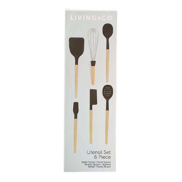Living & Co Wooden Utensils Set Black 6 Pack, , hi-res