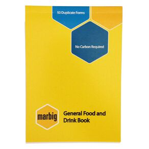 Marbig Food/Beverage Order Book Duplicate 50 Leaf Yellow A6