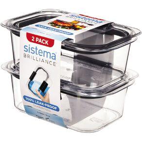 Sistema Brilliance Medium Rectangular Container 2 Pack 920ml