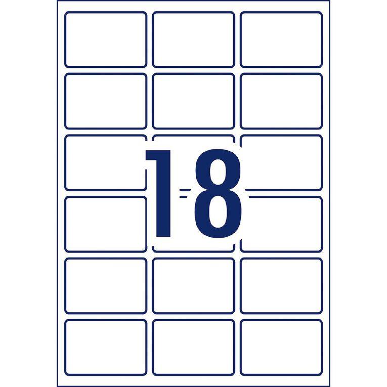 Avery Rectangular Glossy Labels 10 Pack 18 Per Sheet White, , hi-res