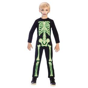 Amscan Glow-in-the-Dark Skeleton Kids Jumpsuit 6-8 Years