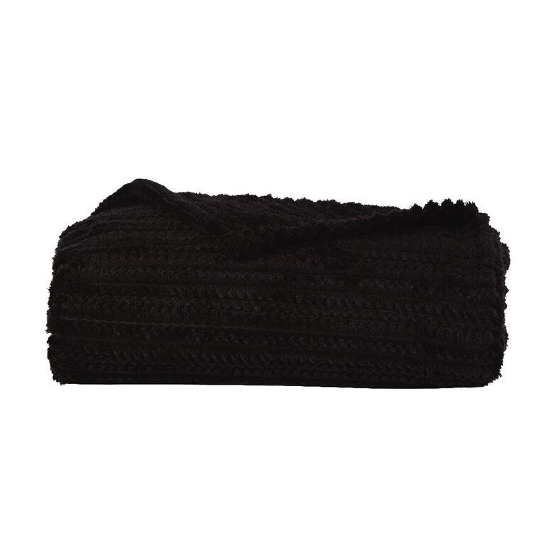 Living & Co Cut Jacquard Stripe Throw Black 127cm x 152cm, Black, hi-res image number null