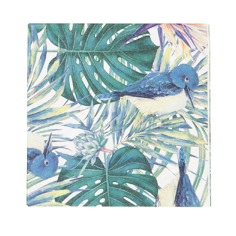 Party Inc Teal Tropical Napkins 2 Ply 33cm 20 Pack, , hi-res