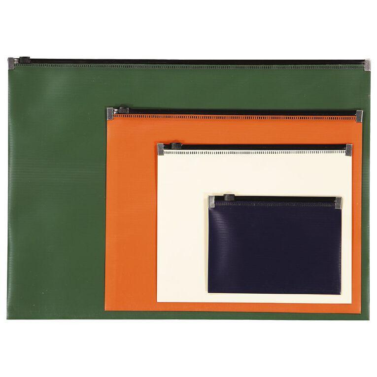 Office Supply Co Zip Lock Wallets 4pk Multi-Coloured, , hi-res
