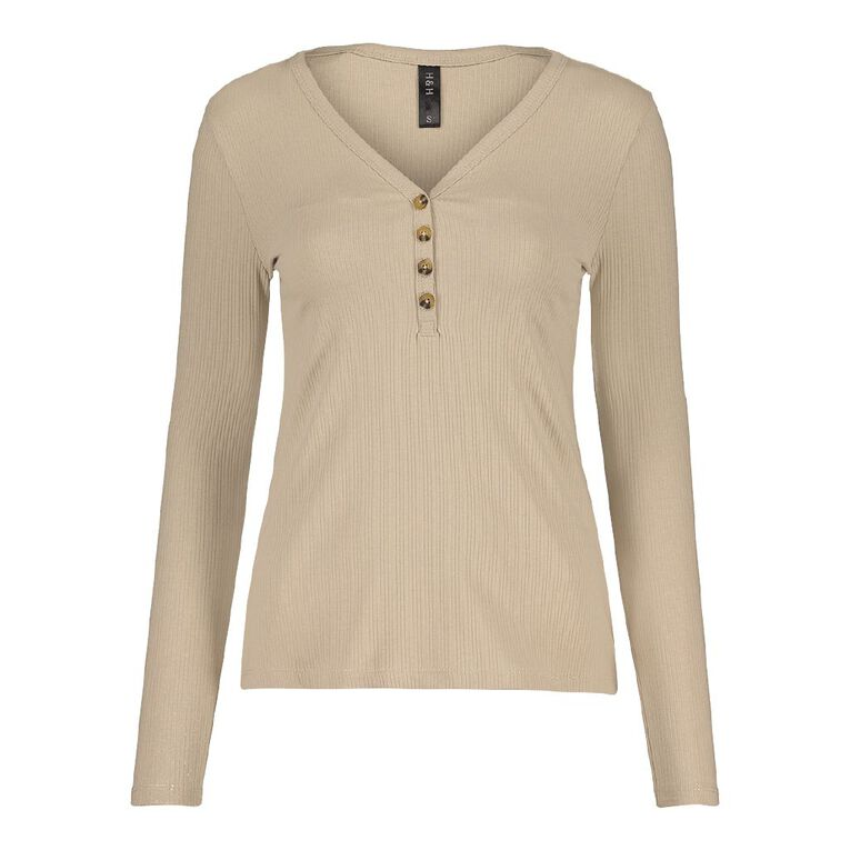H&H Women's Rib Henley Top, Taupe, hi-res