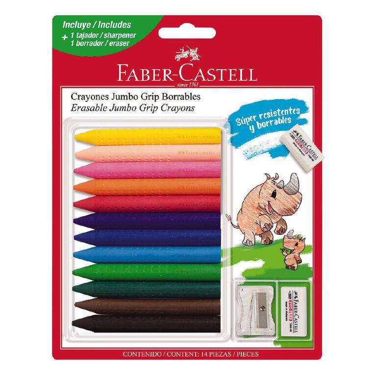 Faber-Castell Jumbo Grip Crayons + Sharpener & Eraser 12 Pack, , hi-res
