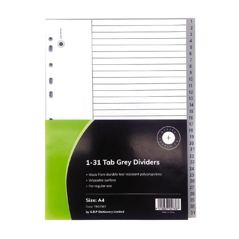 Office Supply Co 1-31 Tab Grey Polypropylene  Dividers, , hi-res