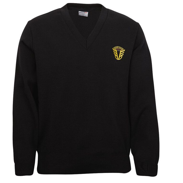 Schooltex Awatapu Jersey with Embroidery, Black, hi-res