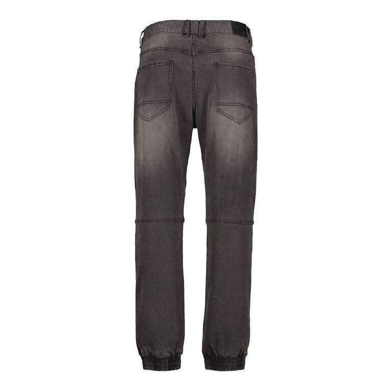 H&H Men's Fixed Waist Denim Joggers, Black, hi-res