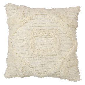 Living & Co Edith Tufted Cushion Ivory 45cm x 45cm