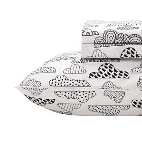 Living & Co Kids Sheet Set Cotton Rich Cloud White