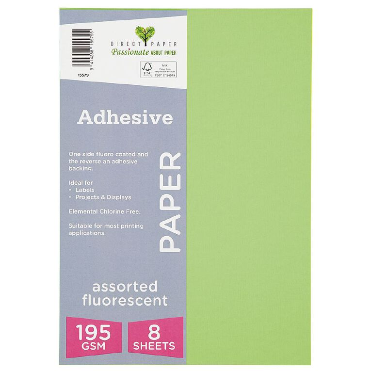 Direct Paper Adhesive Fluoro Assorted Colours 8 Pack A4, , hi-res