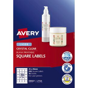 Avery Square Labels Crystal Clear 200 Labels