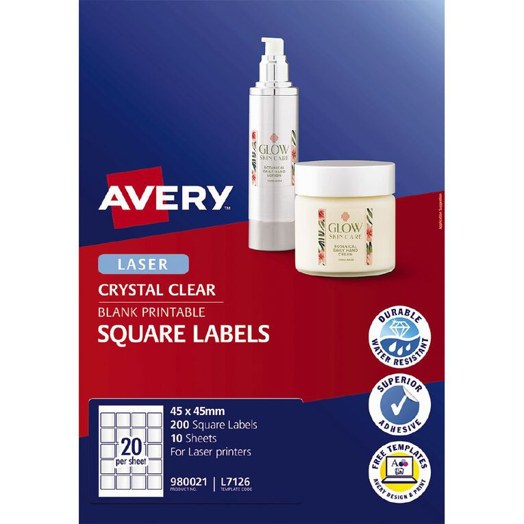Avery Square Labels Crystal Clear 200 Labels, , hi-res