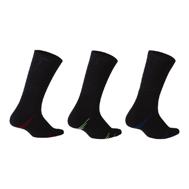 Active Intent Men's Crew Cushioned Sports Socks 3 Pack, Black, hi-res