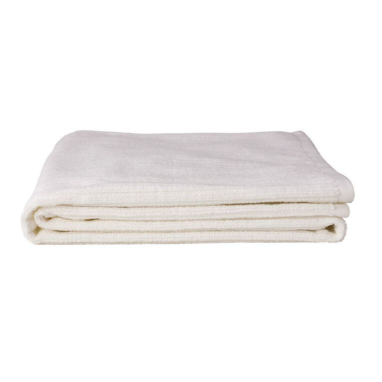 Living & Co Bath Towel Organic Ribbed White 65cm x 135cm, , hi-res