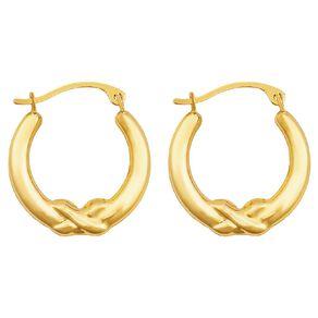 9ct Gold Fan Kiss Hoop Earrings