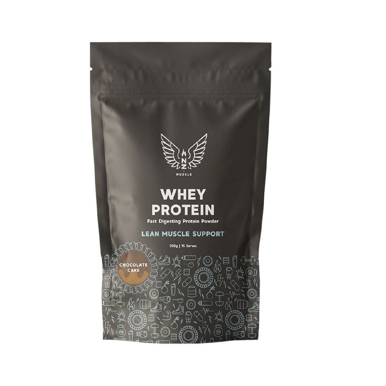 NZ Muscle Whey Protein Chocolate Cake 500g, , hi-res