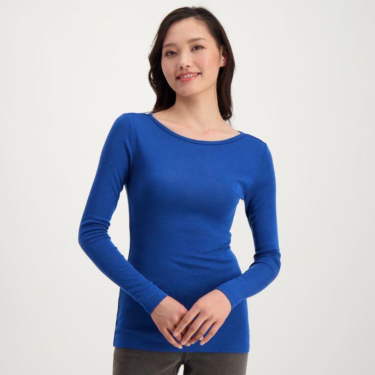 H&H Women's Merino Long Sleeve Boat Neck Top, Blue Dark, hi-res image number null