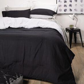 Living & Co Microfibre Comforter Set Black/White Queen