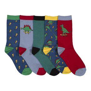 H&H Boy's Crew Patterned Socks 5 Pack