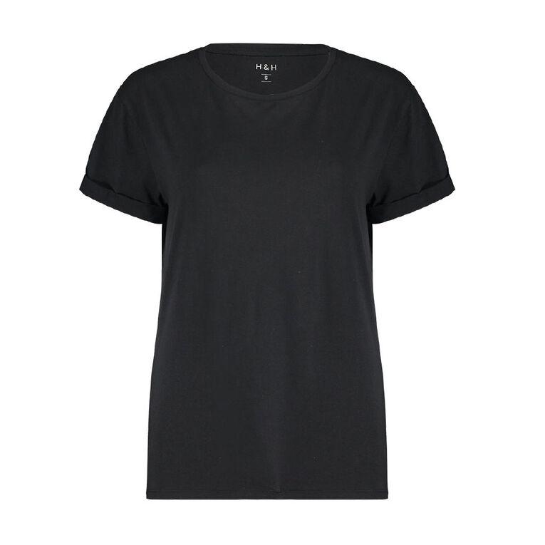 H&H Women's Oversized Roll Sleeve Tee, Black, hi-res
