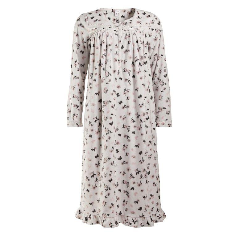 H&H Women's Long Sleeves Fleece Nightie, White, hi-res