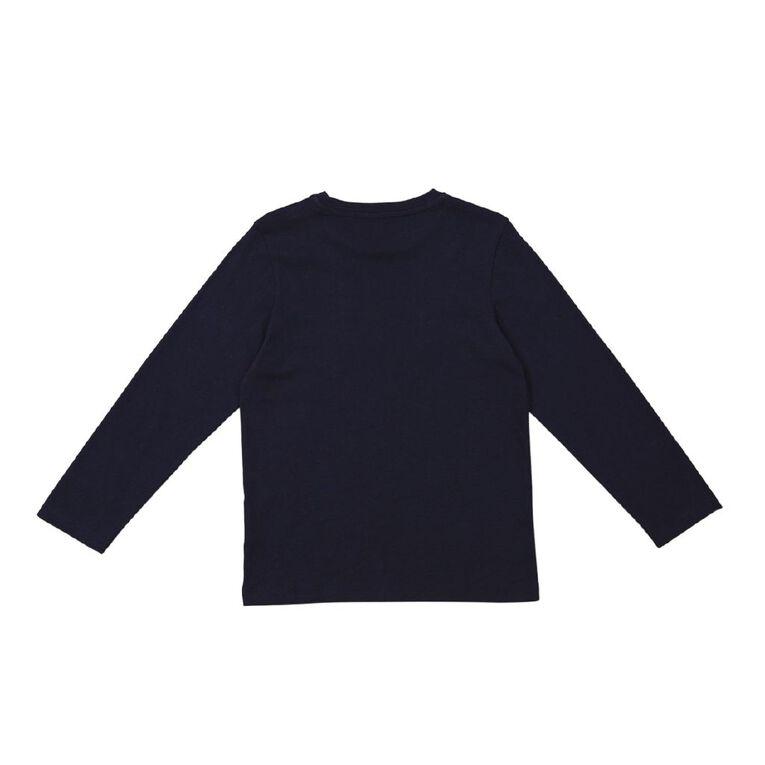 Young Original Long Sleeve Essential Print Tee, Navy PEACE, hi-res