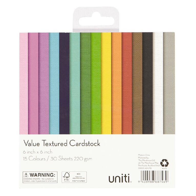 Uniti Value Cardstock Textured 30 Sheets 6in x 6in, , hi-res