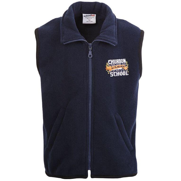 Schooltex Churton School Vest with Embroidery, Navy, hi-res