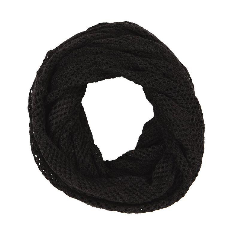 H&H Diamond Knit Snood, Black, hi-res