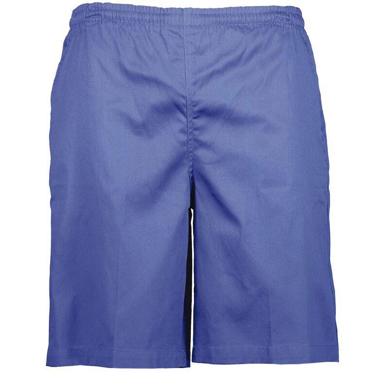 Schooltex Adults' Drill Long Leg Rugger Shorts, Royal, hi-res