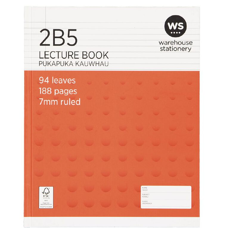 WS Lecture Book 2B5 7mm Ruled Hardcover 94 Leaf Red, , hi-res