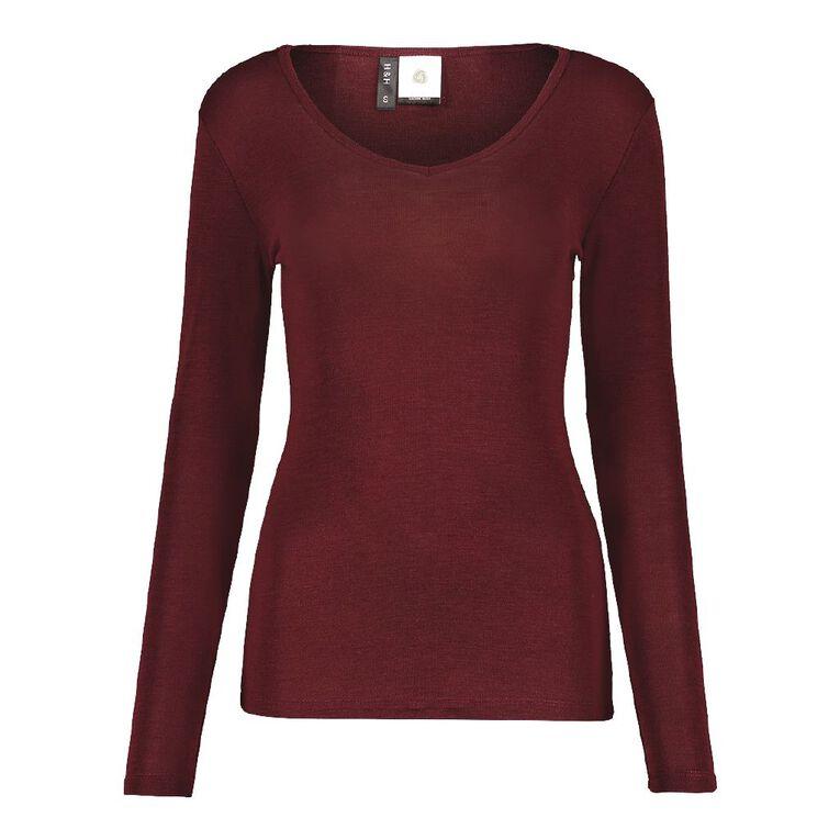 H&H Women's Merino Blend V Neck Top, Red Dark, hi-res image number null