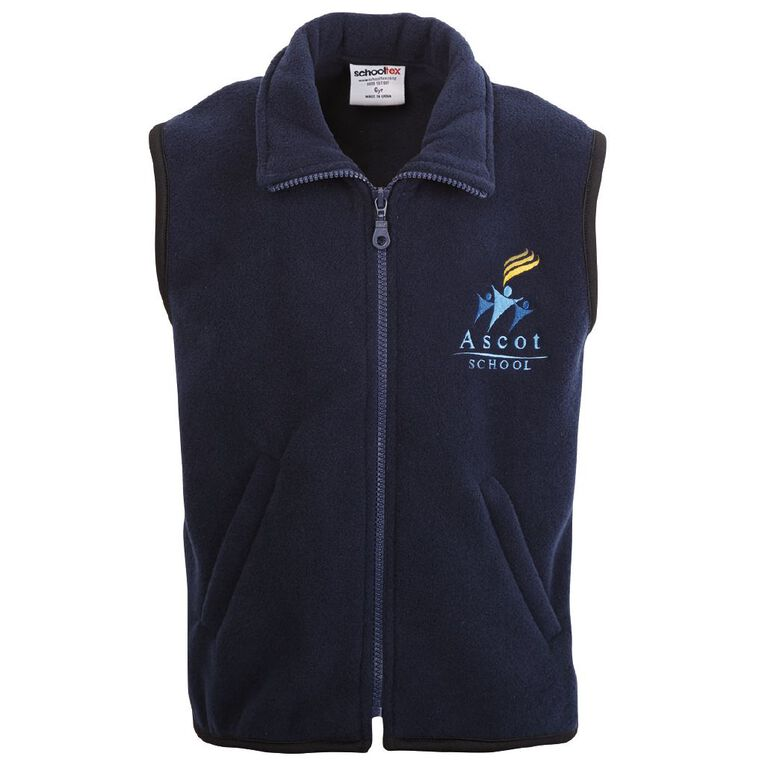 Schooltex Ascot Polar Fleece Vest with Embroidery, Navy, hi-res