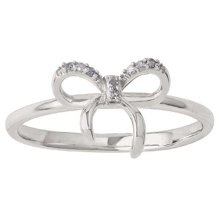 Sterling Silver Diamond Bow Ring, Sterling Silver, hi-res