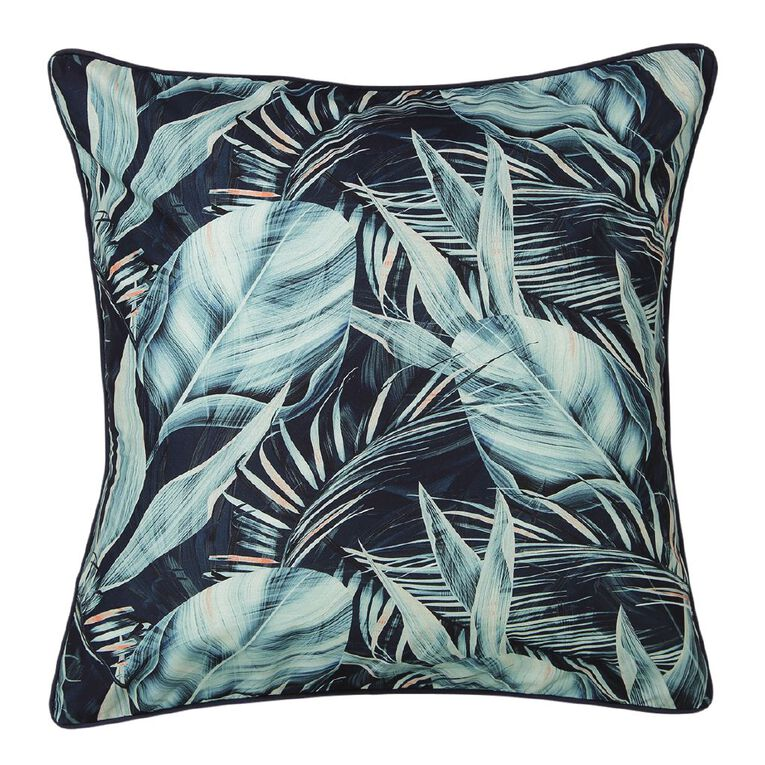 Living & Co Pillowcase Euro Cotton 180 TC Beach Palms Green 65cm x 65cm, Green, hi-res