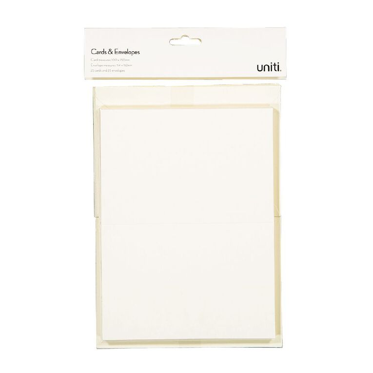Uniti Cards & Envelopes Ivory 25 Pack, , hi-res