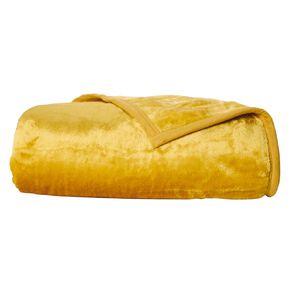 Living & Co Blanket Mink Feel 400gsm Tawny Mustard Yellow Queen
