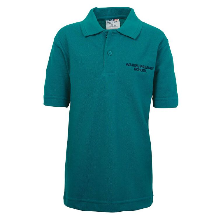 Schooltex Waiuku Primary Short Sleeve Polo with Embroidery, Jade, hi-res