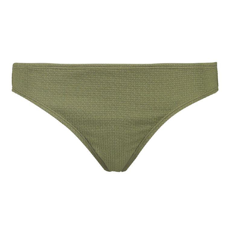 H&H Women's Textured Basic Bikini Bottoms, Green Mid, hi-res