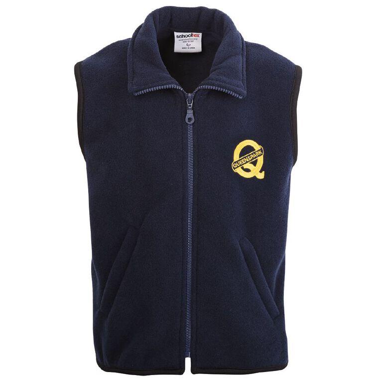 Schooltex Queenspark Polar Fleece Vest with Embroidery, Navy, hi-res