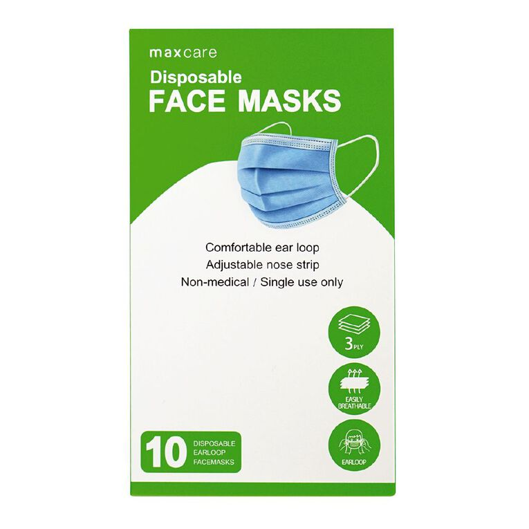 Maxcare Disposable 3Ply Face Mask 10 Pack, , hi-res